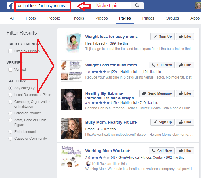 Look for Niche topics in Facebook pages
