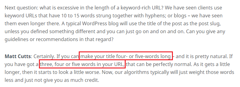 less words in url
