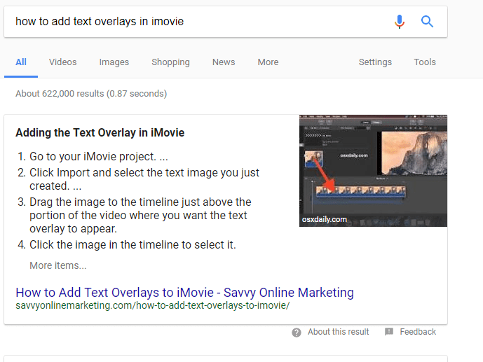 feature snippet in Google