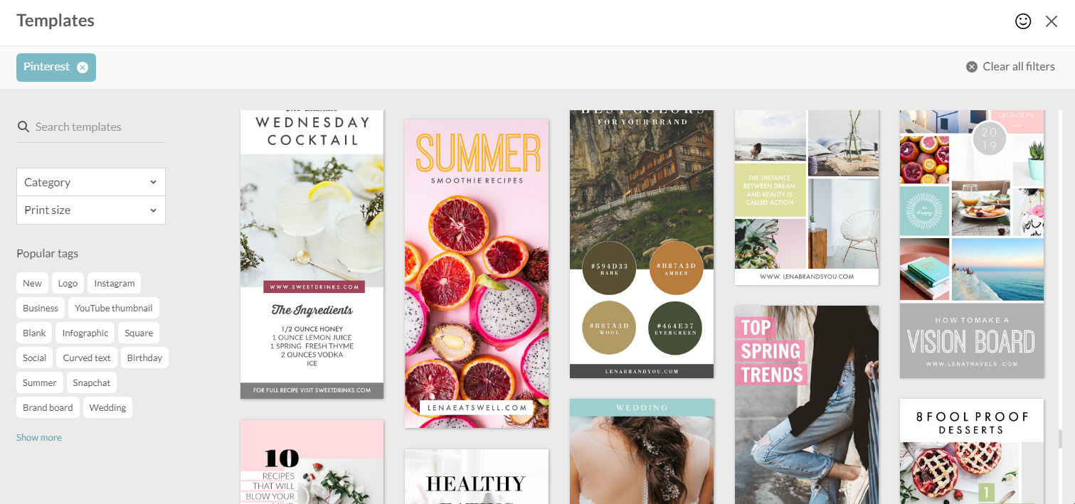 creative templates for Pinterest