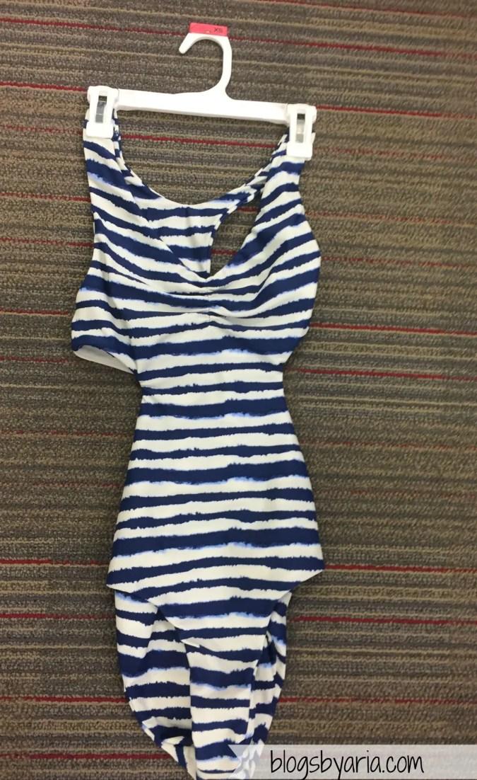 Striped Racerback One Piece Swimsuit - Indigo Blue - Tori Praver Seafoam