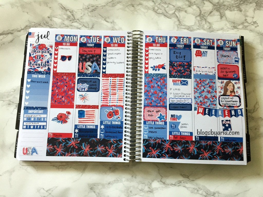 4th of July planner spread