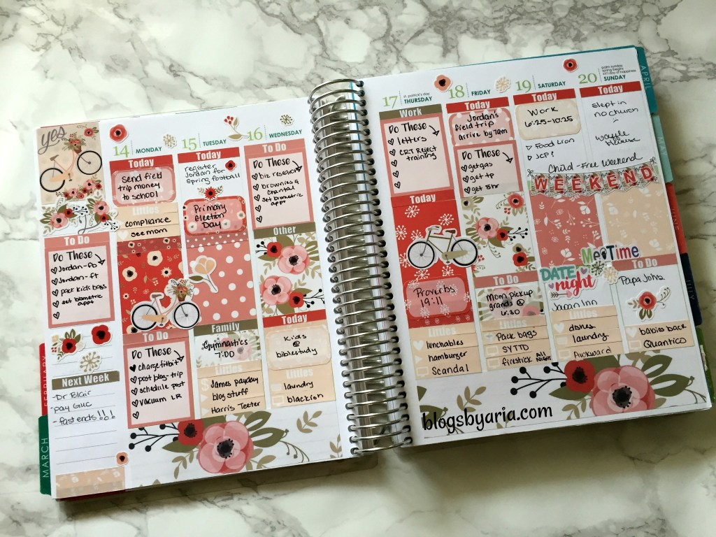 Glam Planner spread