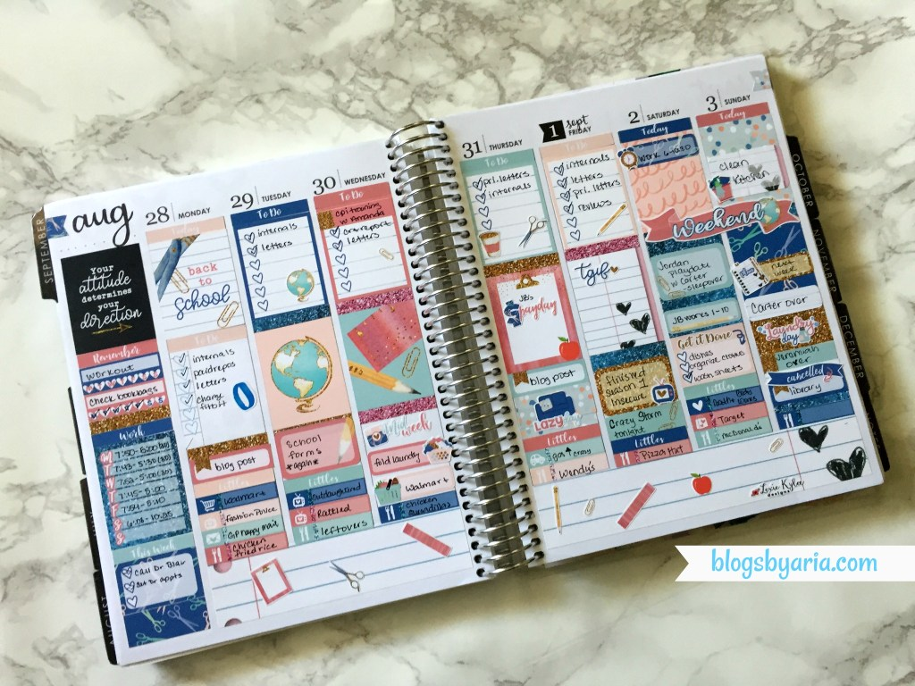 Back to school weekly planner spread