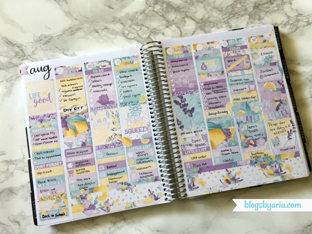 Little Miss Paperie Lemonade weekly planner spread