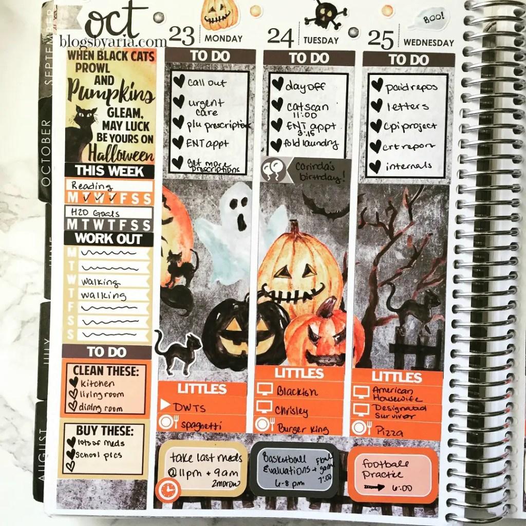Glam Planner Haunted Halloween Planner Spread Erin Condren