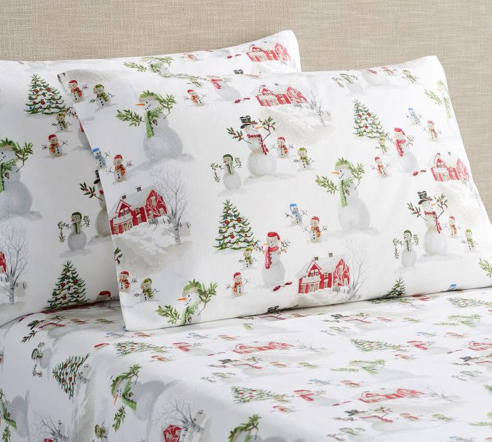 Pottery Barn Snowman Flannel Sheet Set