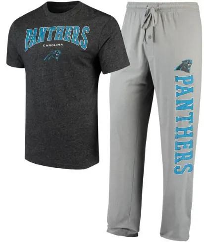 Gift Guide for Him | Men's Carolina Panthers Holiday T-Shirt and Pants Sleep Set