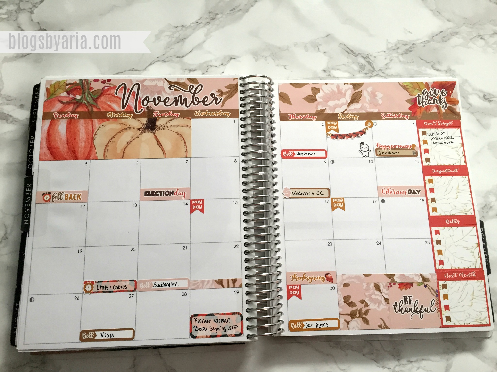 November Monthly Planner Spread -- Lexie Kylee Designs