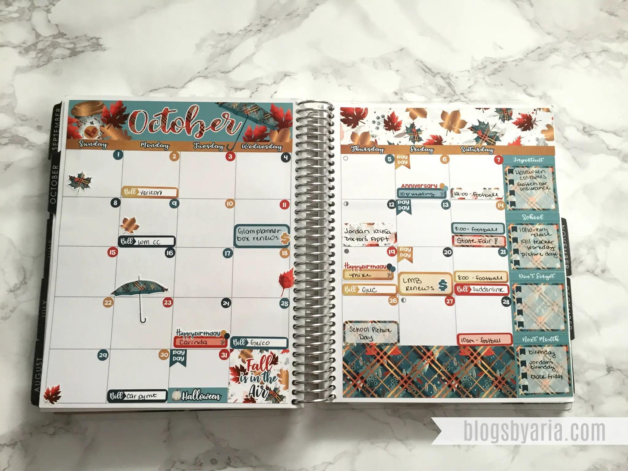 October Monthly Planner Spread - Lexie Kylee Designs
