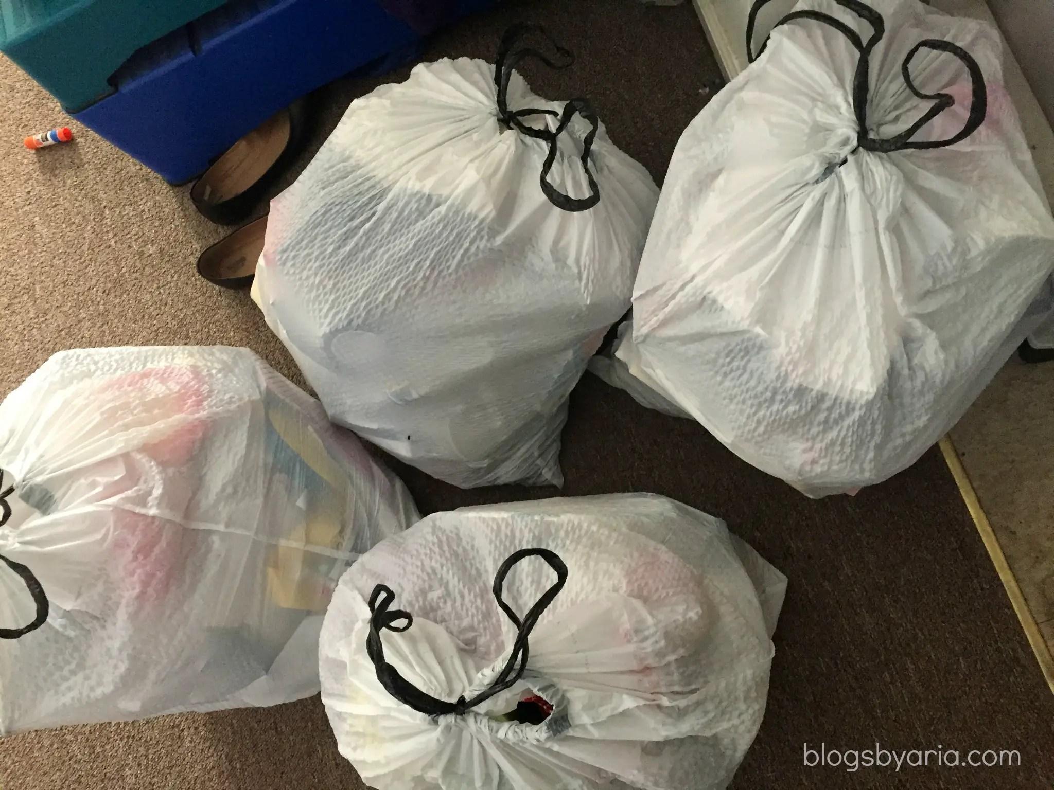 decluttered kids room tons of trash
