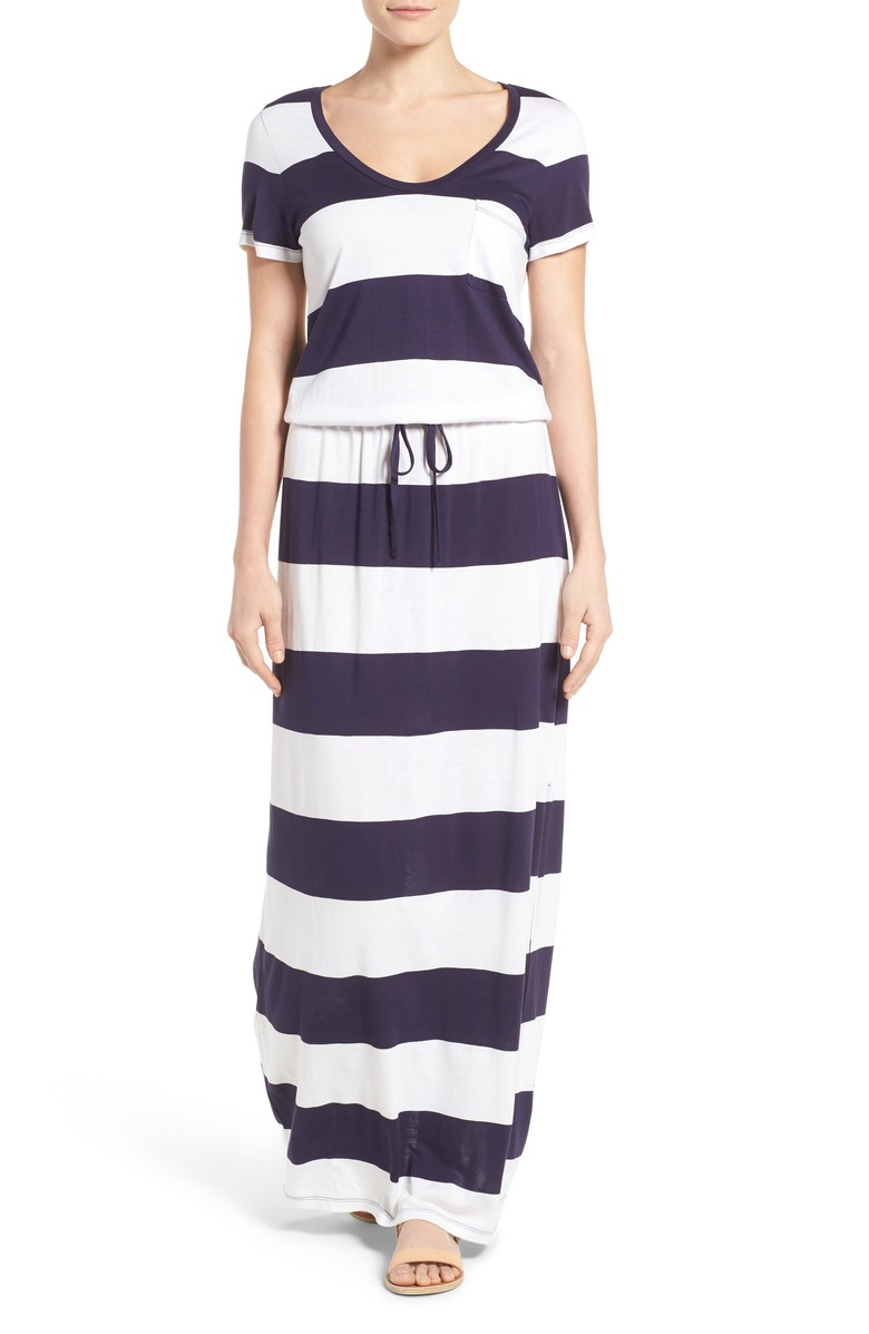 Drawstring V-Neck Jersey Maxi Dress