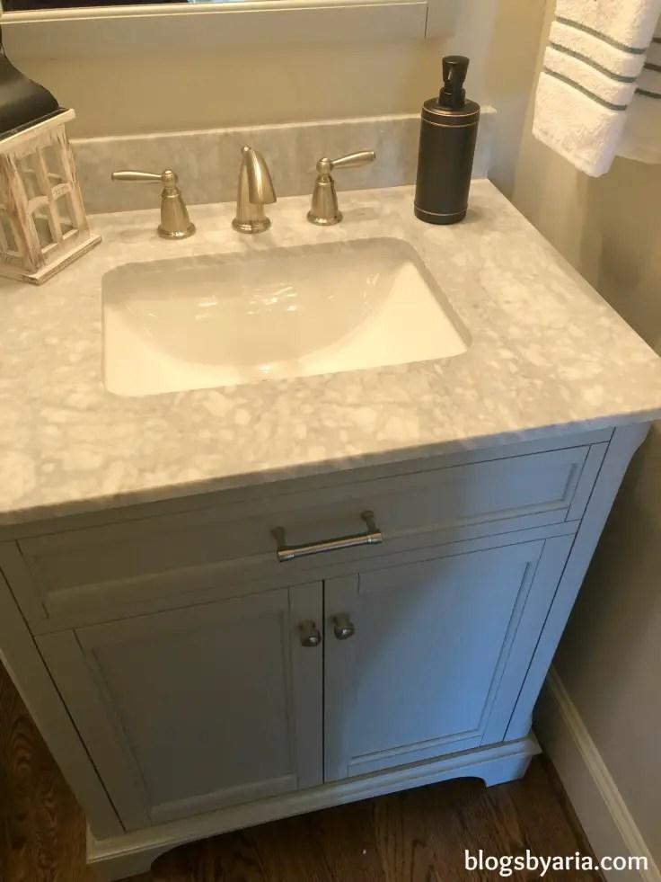 #powderroom bathroom gorgeous #quartz #countertop