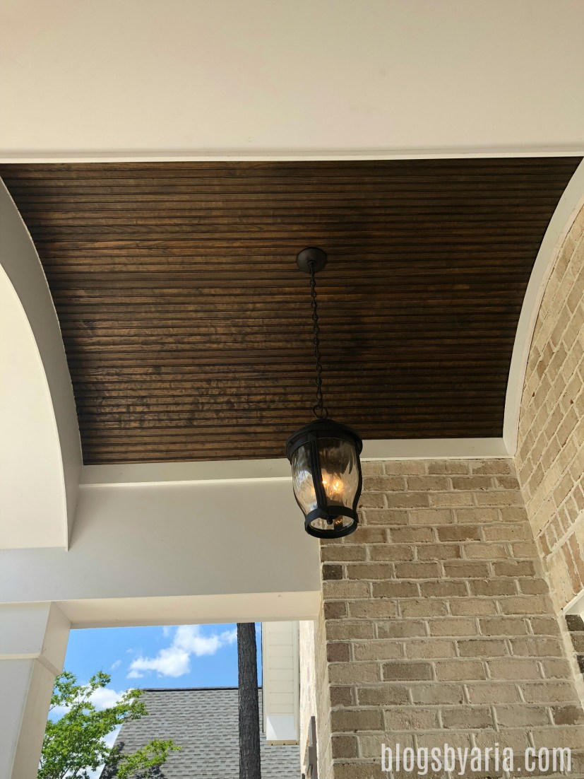 front porch semi-barrel ceiling beaded wood detail