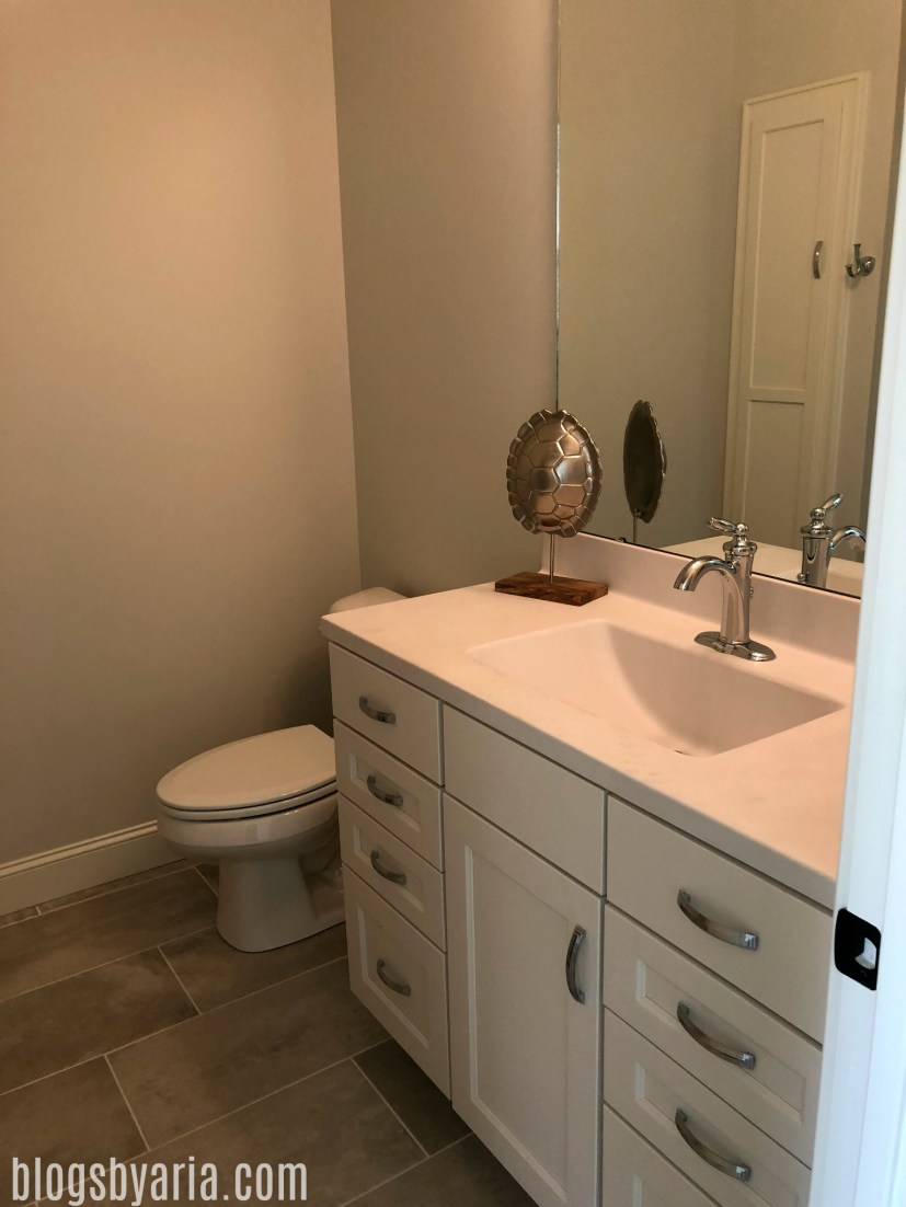 guest bathroom hardware style honed countertops