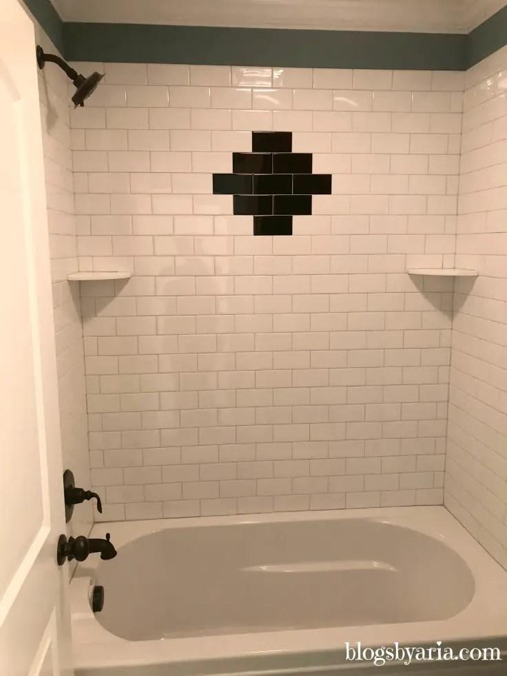 #subwaytileshower accent tile