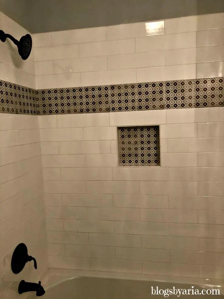 subway tile shower detail and trim