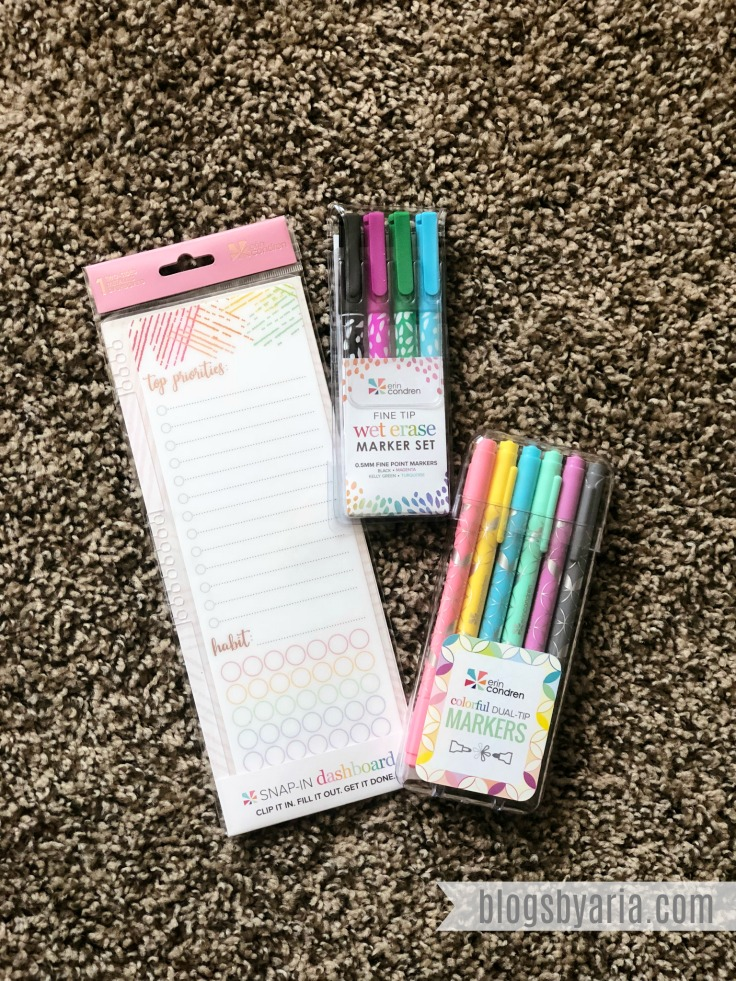 Erin Condren snap in habit tracker dashboard, wet erase markers and dual tip markers