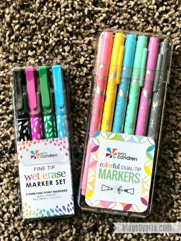 Erin Condren Fine Tip Wet Erase Markers Set and Dual Tip Markers Set
