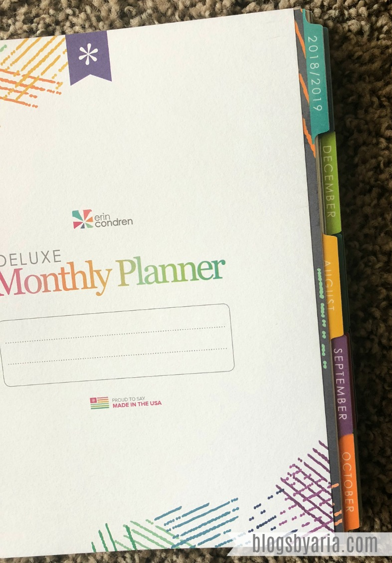 colorful tabs in the Erin Condren Deluxe Monthly Planner
