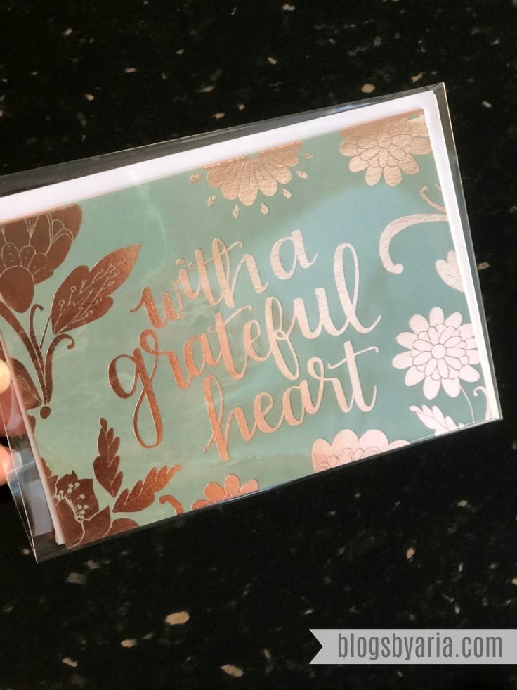 With a Grateful Heart foiled notecard #stationary