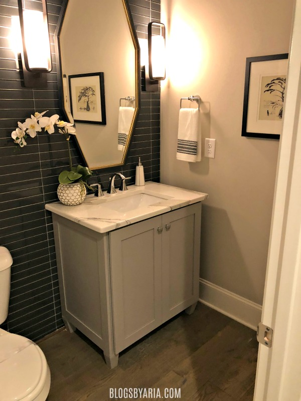 powder room with feature wall design