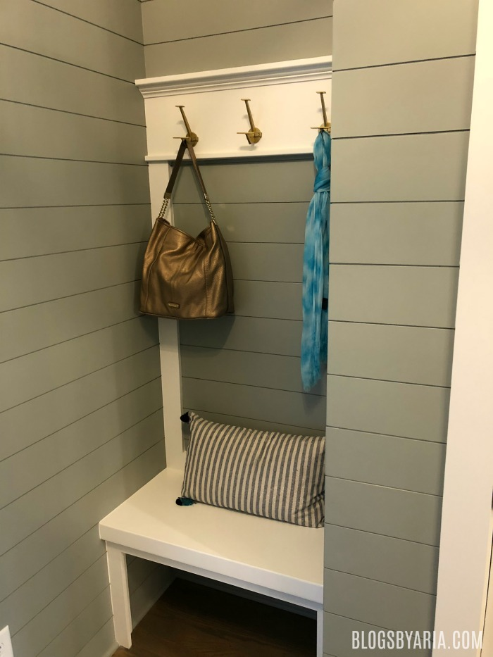 shiplap mudroom area