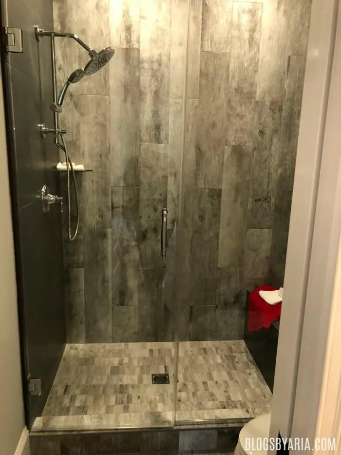 dark gray tile shower