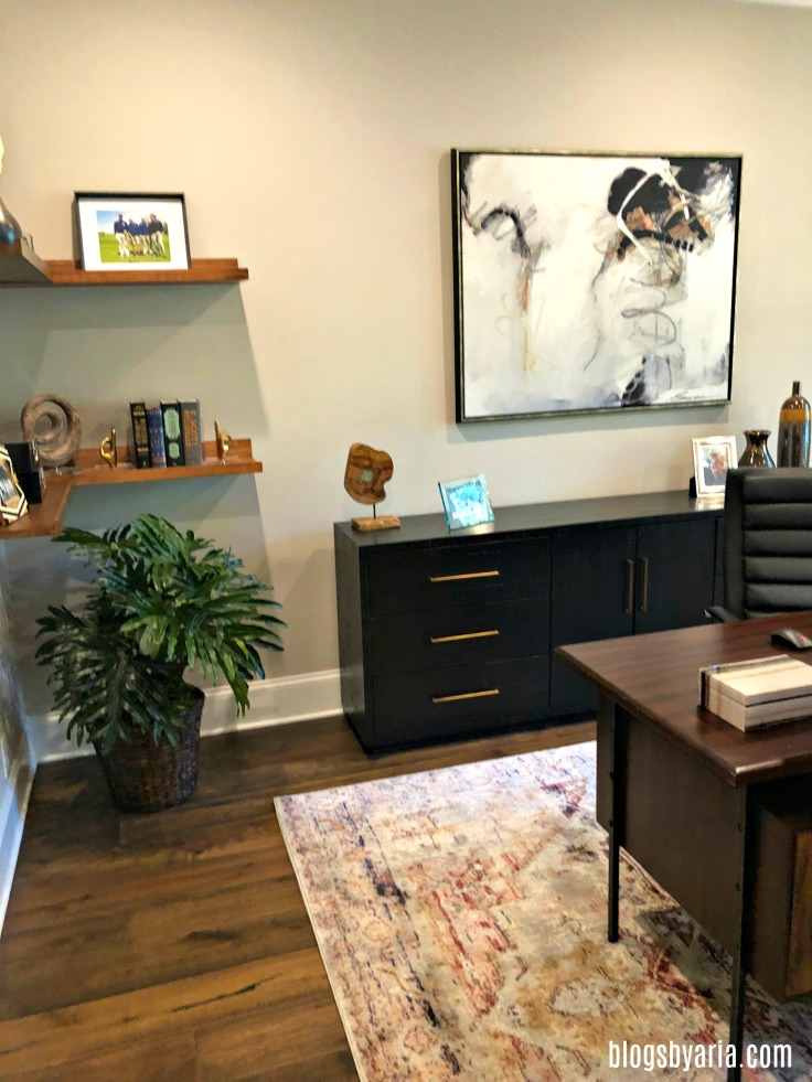 stylish home office with floating shelves #homeoffice