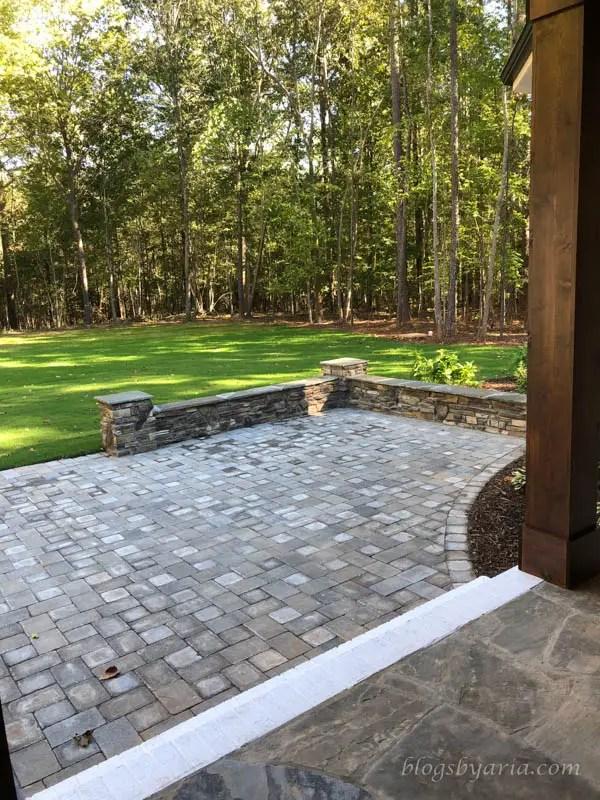 stone accents backyard patio