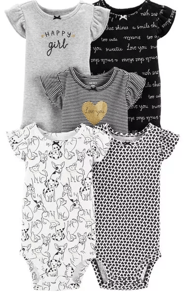 gray and neutral baby girl bodysuit onesies
