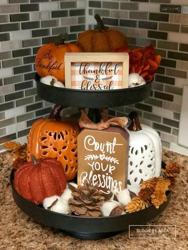 pumpkin tiered tray