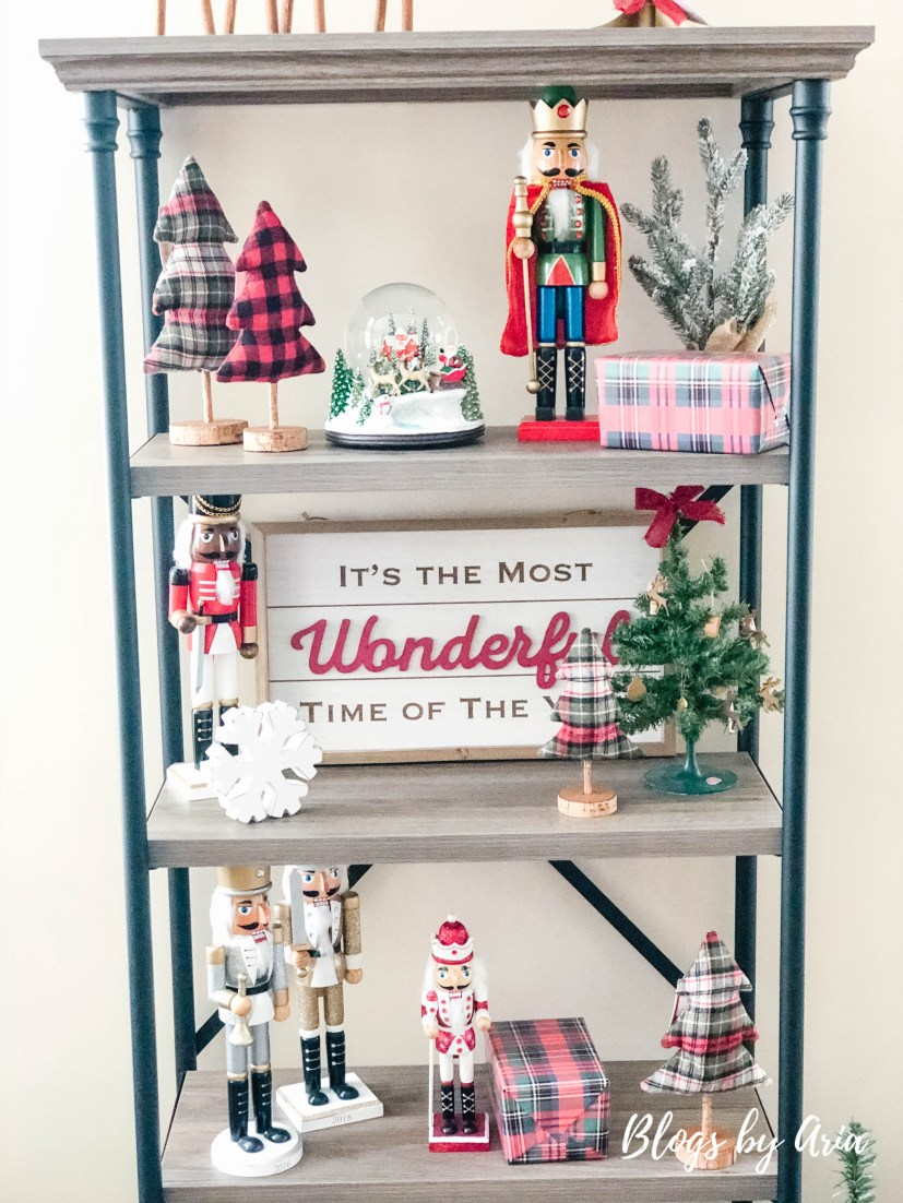 Christmas Decorating Progress styled shelves