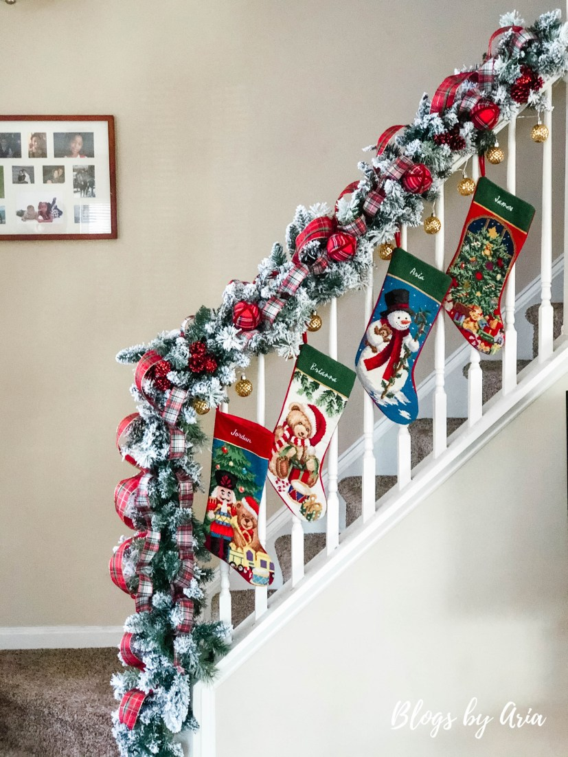 hanging stockings from stairs