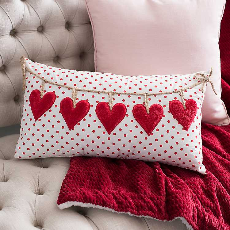 polka dot hearts pillow