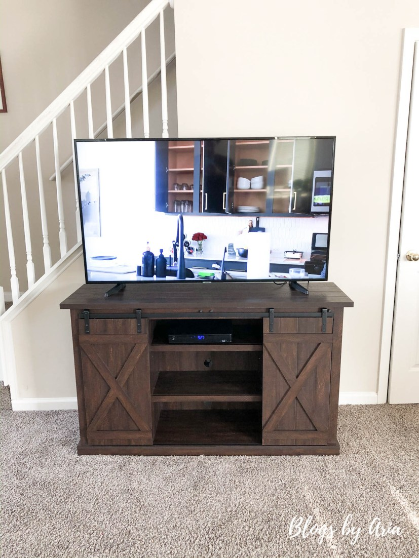 farmhouse barn door tv stand