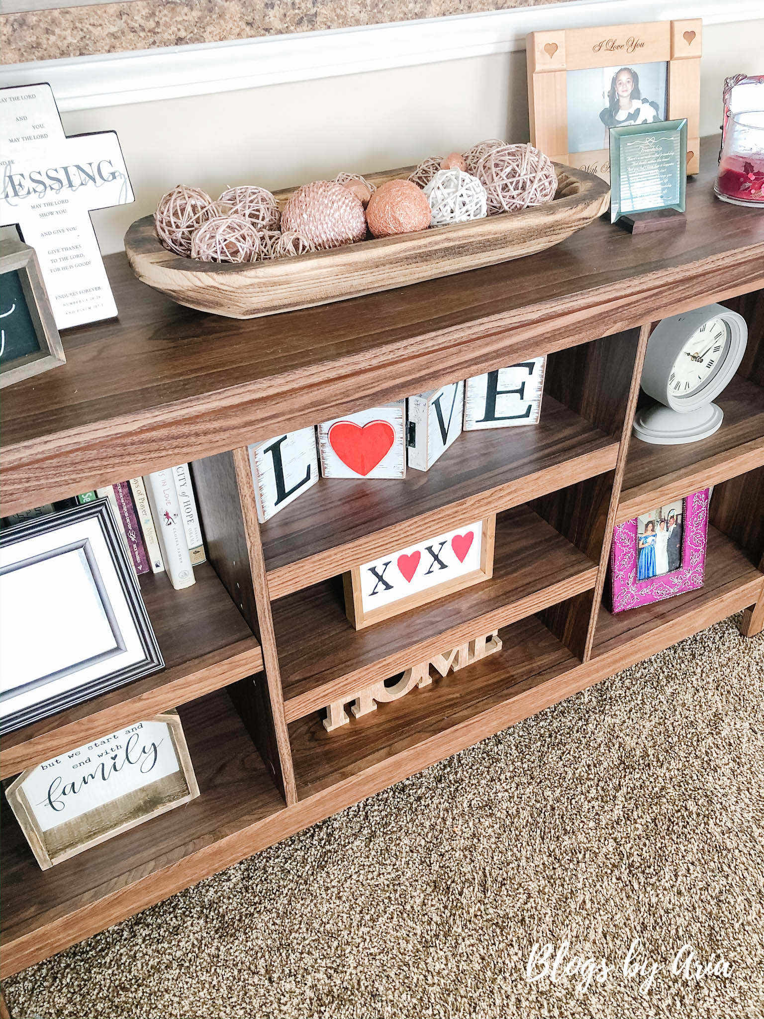 valentines decorated shelves