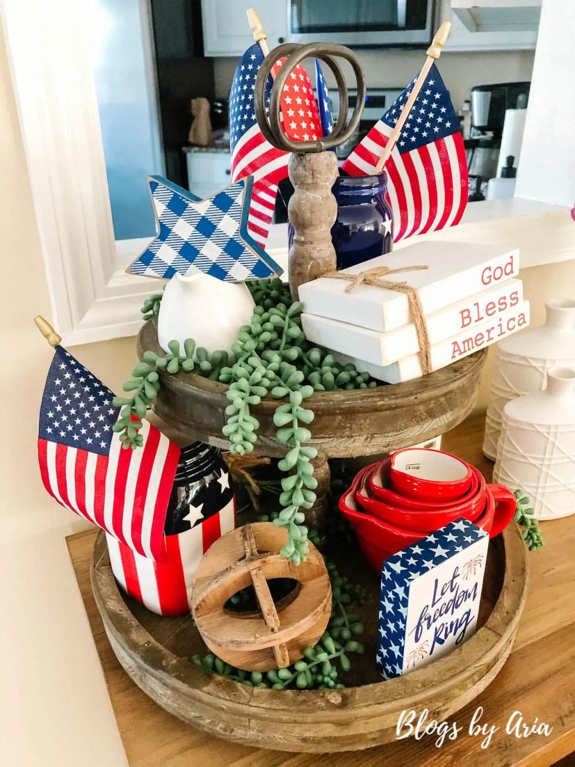 patriotic tiered tray decor