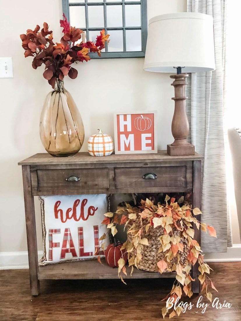 autumn home tour entryway table
