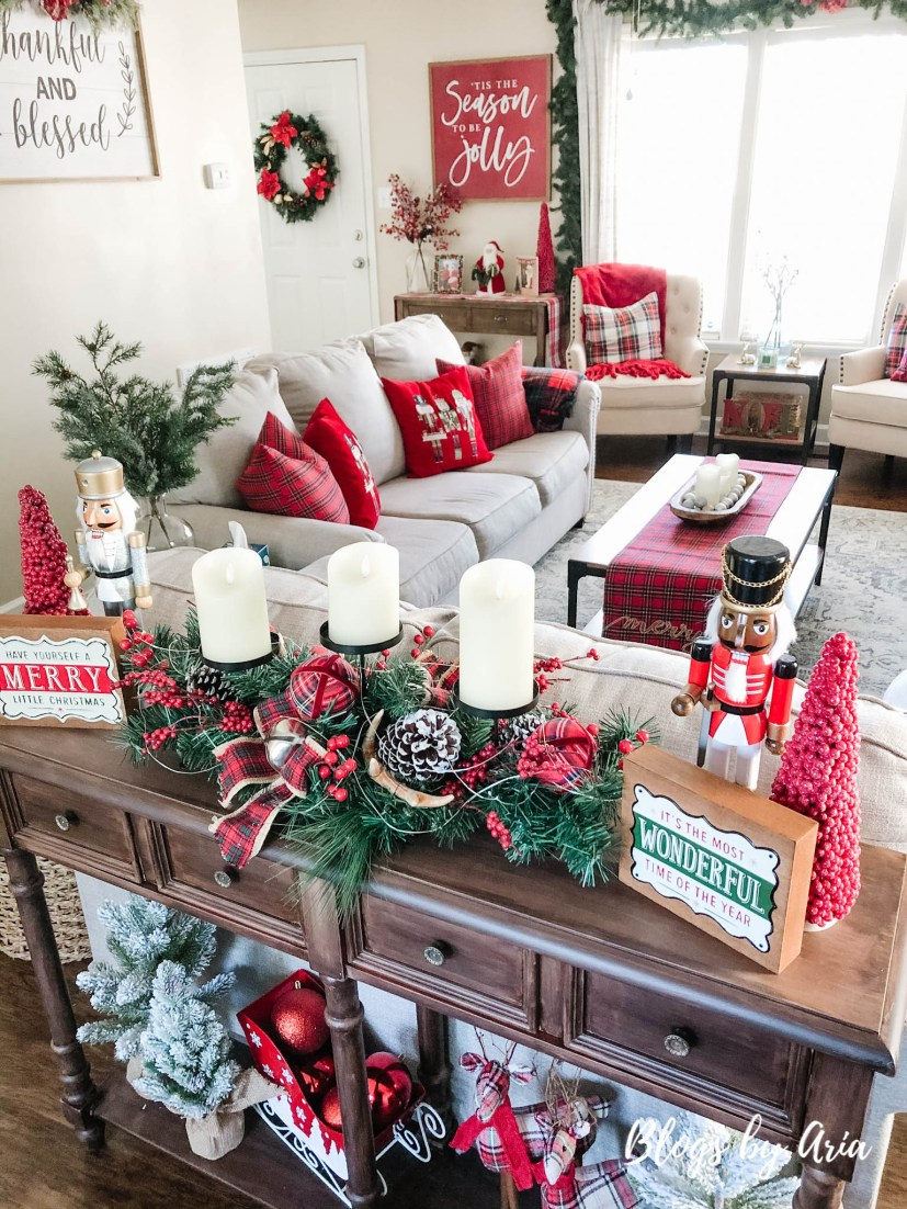 traditional red and green tartan plaid Christmas