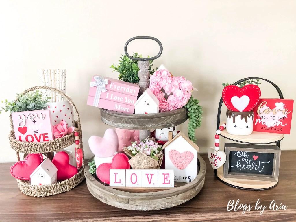 Three ways to style Valentines tiered trays