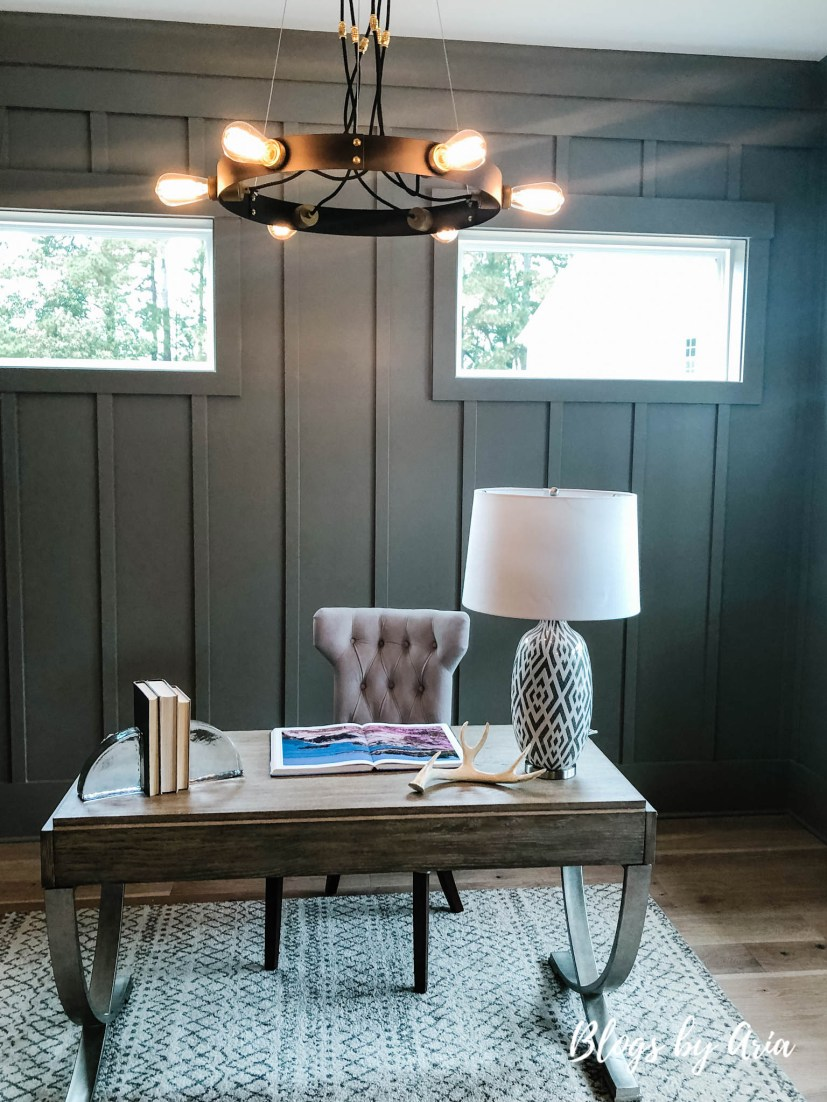 modern farmhouse home office with gray board and batten walls