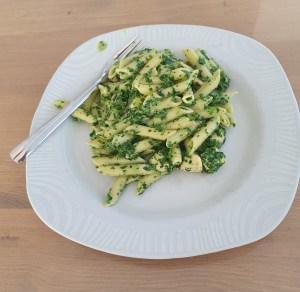 pasta met kip, spinazie en boursin