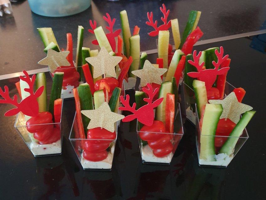 kerstdiner tomaat komkommer paprika