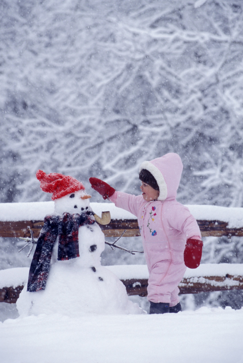 Girl Patting Snowman On His Head