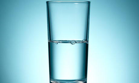 A half-empty glass of water