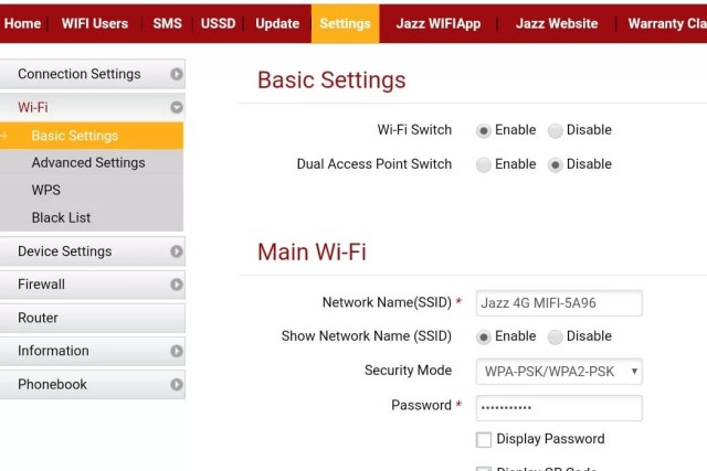 Change Wi-Fi Password and Name of Your Jazz 4G Device