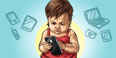 Girl child with mobile