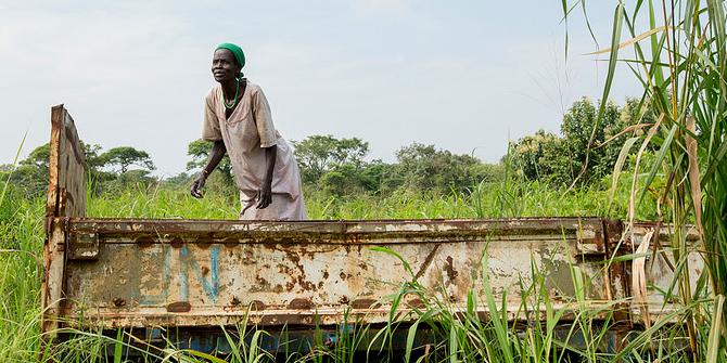 A woman mixes flour in South Sudan