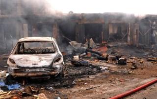 wreckage following bomb blast at Terminus market in Jos. Nigeria